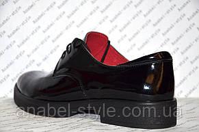 Туфли оксфорды женские без каблука лаковые черные, фото 3