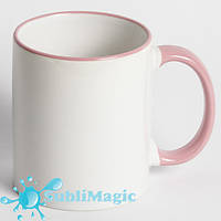 Чашка сублимационная цветной ободок РОЗОВЫЙ