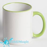 Чашка сублимационная цветной ободок САЛАТОВЫЙ