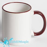 Чашка сублимационная цветной ободок БОРДОВЫЙ