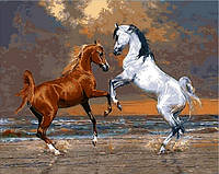 Рисование по номерам 40×50 см. Лошади на берегу океана Художник Петер Смит, фото 1