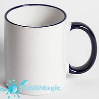 Чашка сублимационная цветной ободок КОБАЛЬТОВЫЙ