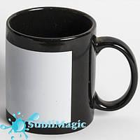 Чашка сублимационная с белой панелью Черная