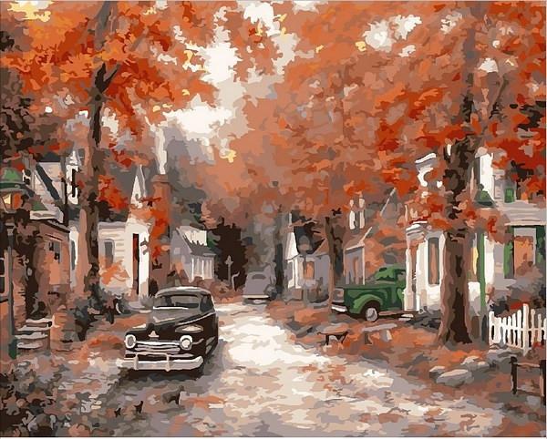 Картины по номерам 40×50 см. Осень на кленовой улице