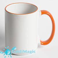 Чашка сублимационная с ободком 425 мл Оранжевая