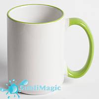 Чашка сублимационная с ободком 425 мл Салатовая