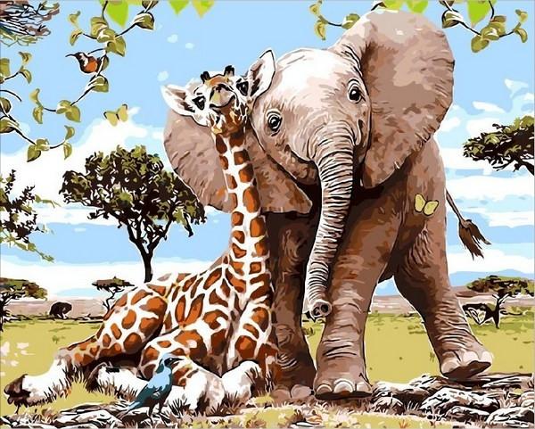 Картины по номерам 40×50 см. Слоненок и жираф