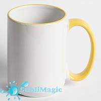 Чашка сублимационная с ободком 425 мл Желтая