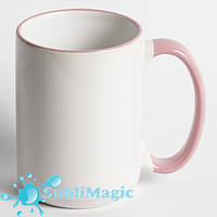 Чашка сублимационная с ободком 425 мл Розовая