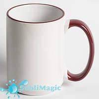 Чашка сублимационная с ободком 425 мл Бордовая