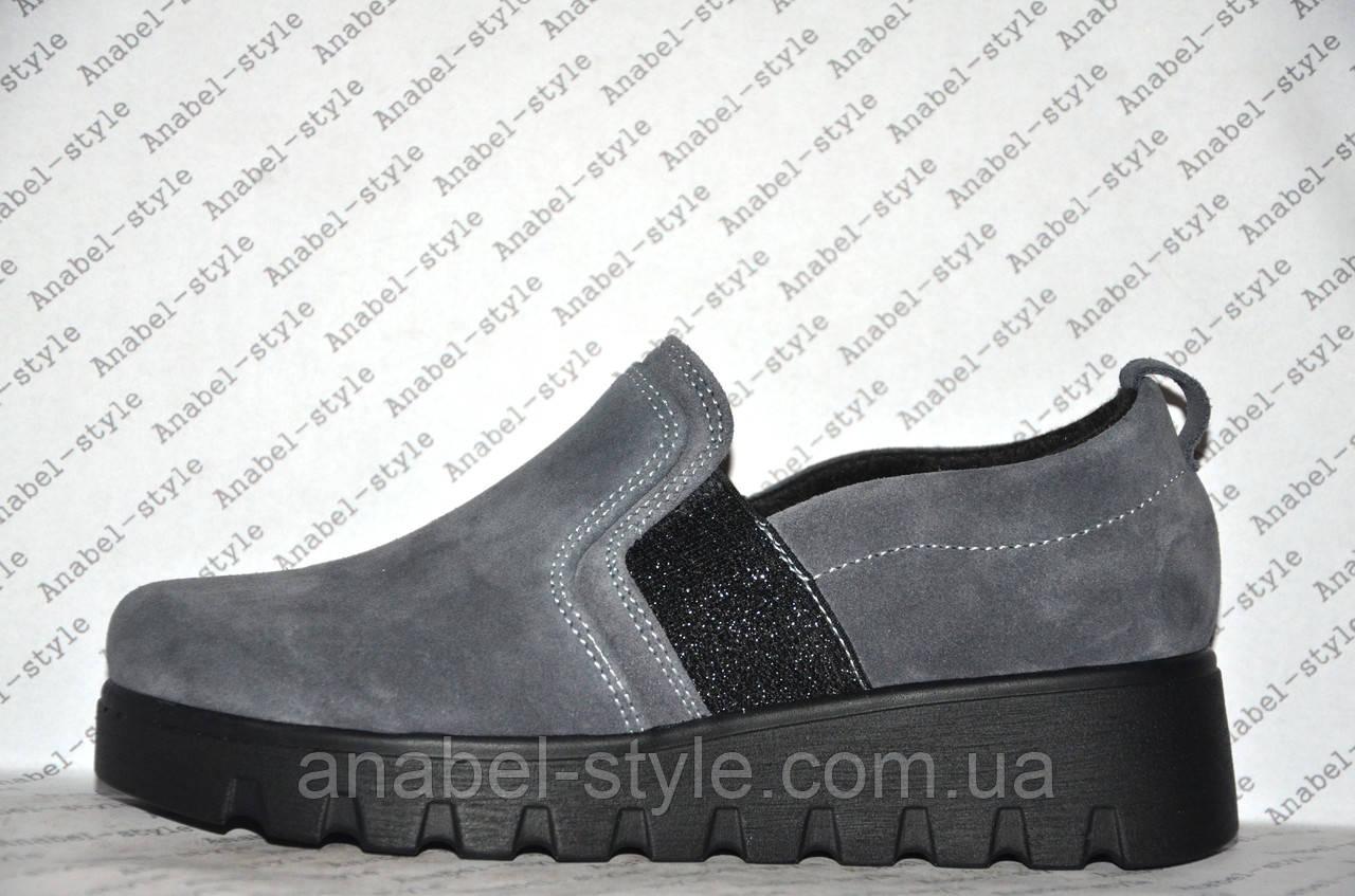 Слипоны женские стильные на толстой подошве натуральная замша серого цвета