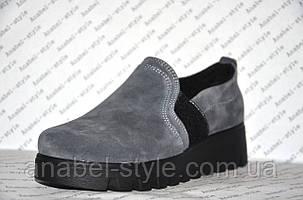 Слипоны женские стильные на толстой подошве натуральная замша серого цвета, фото 2