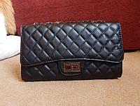 Сумка-конверт женская стеганная черная в стиле Chanel
