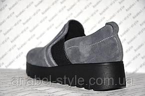 Слипоны женские стильные на толстой подошве натуральная замша серого цвета, фото 3