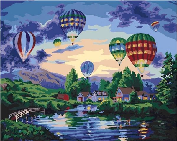 Картины по номерам 40×50 см. Воздушные шары в сумерках