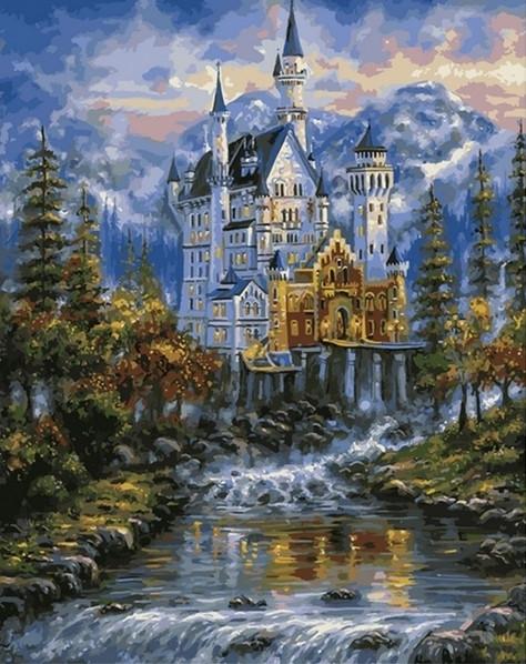 Картины раскраски по номерам 40×50 см. Замок Нойшванштайн ...