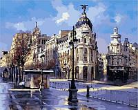 Картины раскраски по номерам 40×50 см. Дождь на Гран-Виа, Мадрид Художник Рикардо Санз