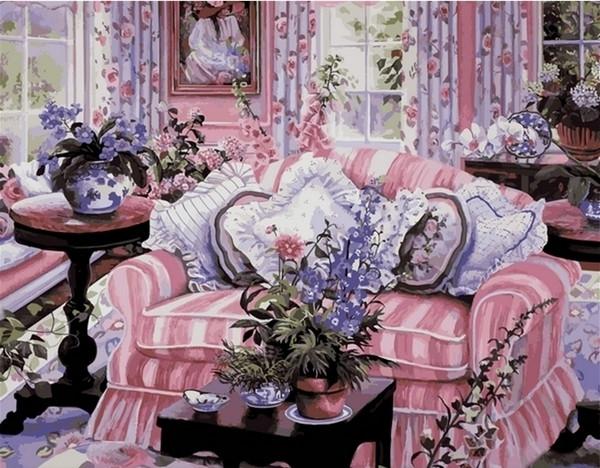 Картины по номерам 40×50 см. Домашний уют Художник Сьюзан Риос