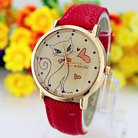 Часы женские наручные Кошечка красные арт. 0027