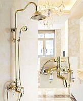 Душевая колонна ( гарнитур ) с золотым смесителем для ванны и лейкой тропического душа Deco C11 gold золото