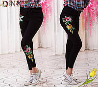 Женский черные джинсы с вышивкой
