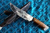 Нож охотничий ручной работы медведь с гравировкой ,кожаный чехол