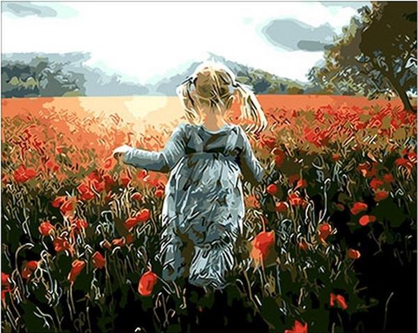 Картины по номерам 40×50 см. Прогулка среди маков
