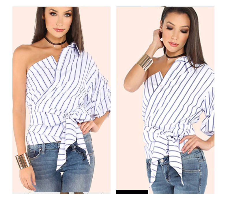 Стильная женская рубашка с одним рукавом ассиметричная в полоску