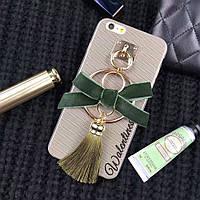 Чехол для айфон 6 iphone 6 бежевый с брелком с зеленым бантом