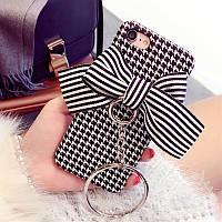 Стильный черно-белый чехол для айфон 6 iphone 6 с бантом и цепью