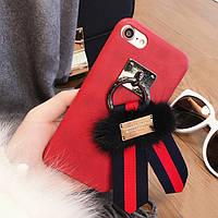 Чехол айфон 6 iphone 6 кожанный с брелком с бантом и мехом брендовый