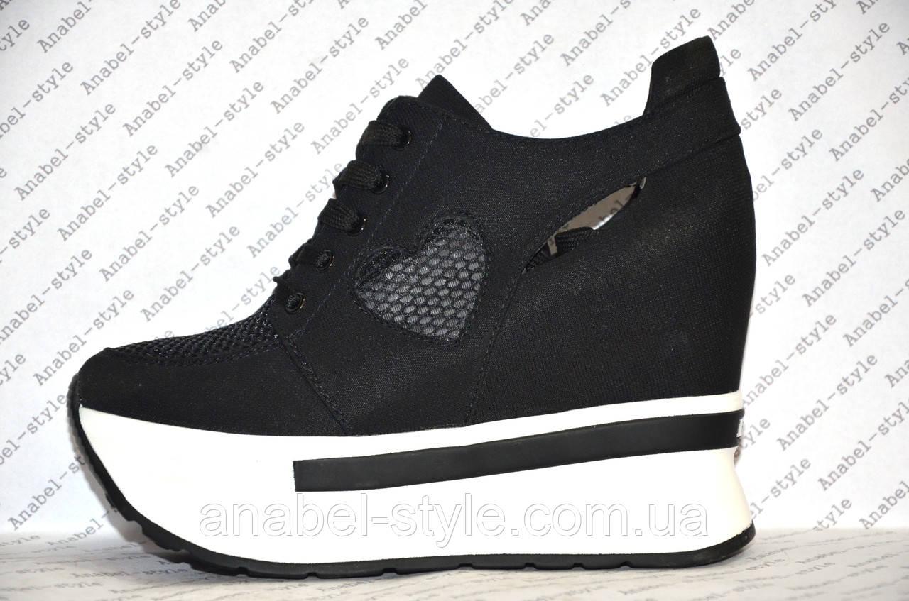 Криперсы летние женские черного цвета на шнурках