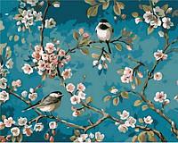 Картины по номерам 40×50 см. Синички на яблоне