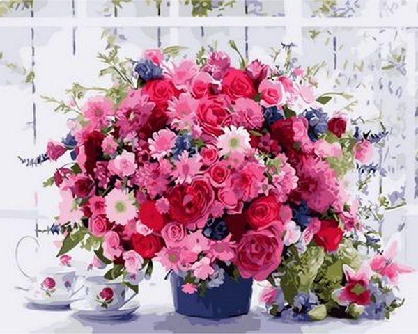Картина по номерам 40×50 см. Розовые хризантемы