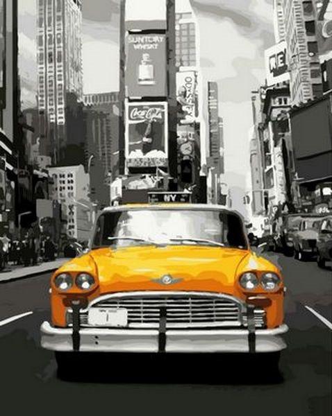 Картины по номерам 40×50 см. Нью-Йоркское такси