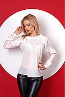 Молодежная блузка белого цвета с рюшами на рукавах