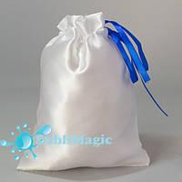 Мешочек для пазлов атласный Синие завязки