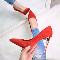 Туфли женские на шпильке Lady Star красный замш