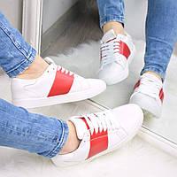 Кроссовки кеды женские Valentino белые с красным,, спортивная обувь