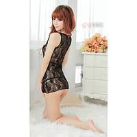 Сексуальное кружевное мини платье спереди на молнии  эротическое белье