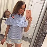 Рубашка женская в полоску голубую ЕЕ/-1112