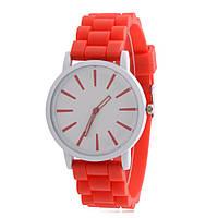Минималистические наручные часы на силиконовом ремешке красные