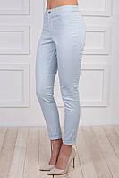 Модные женские брюки голубого цвета, средней посадки