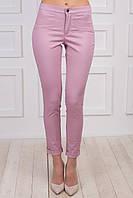 Розовые классические брюки, из материала джинс-коттон, зауженные к низу