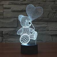 Светильник 3-D мишка на луне, мишка с сердцем, дельфин