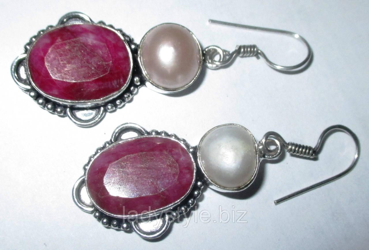 """Серебряные серьги с рубинами и жемчугом  """"Наяда"""""""