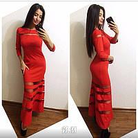 Женское стильное платье-макси (платье в пол) со вставкой сетки (3 цвета)