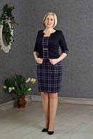Красивое темно-синее платье клеточку, с имитацией жакета. размер 54
