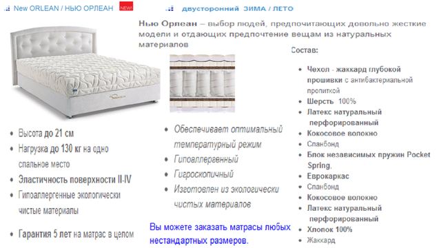 Матрас New ORLEAN / НЬЮ ОРЛЕАН Двусторонний ЗИМА / ЛЕТО