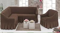 Чехол универсальный на угловой диван+кресло! шоколад